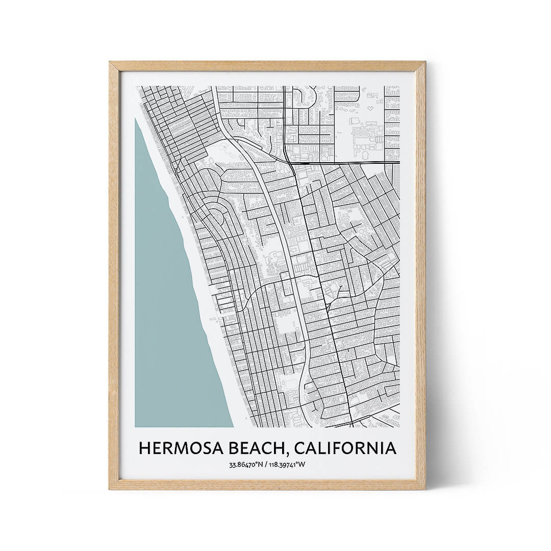Hermosa Beach city map poster