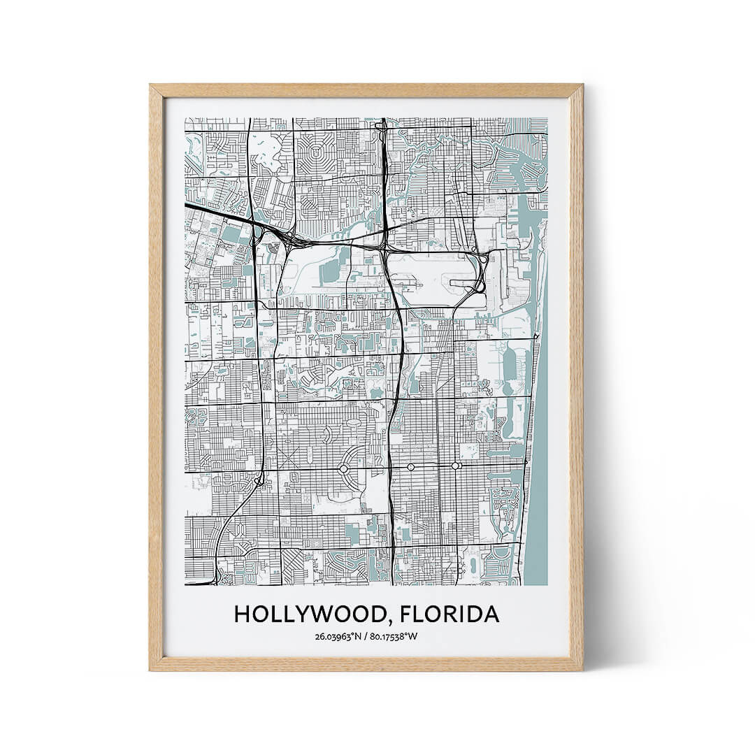 Hollywood city map poster