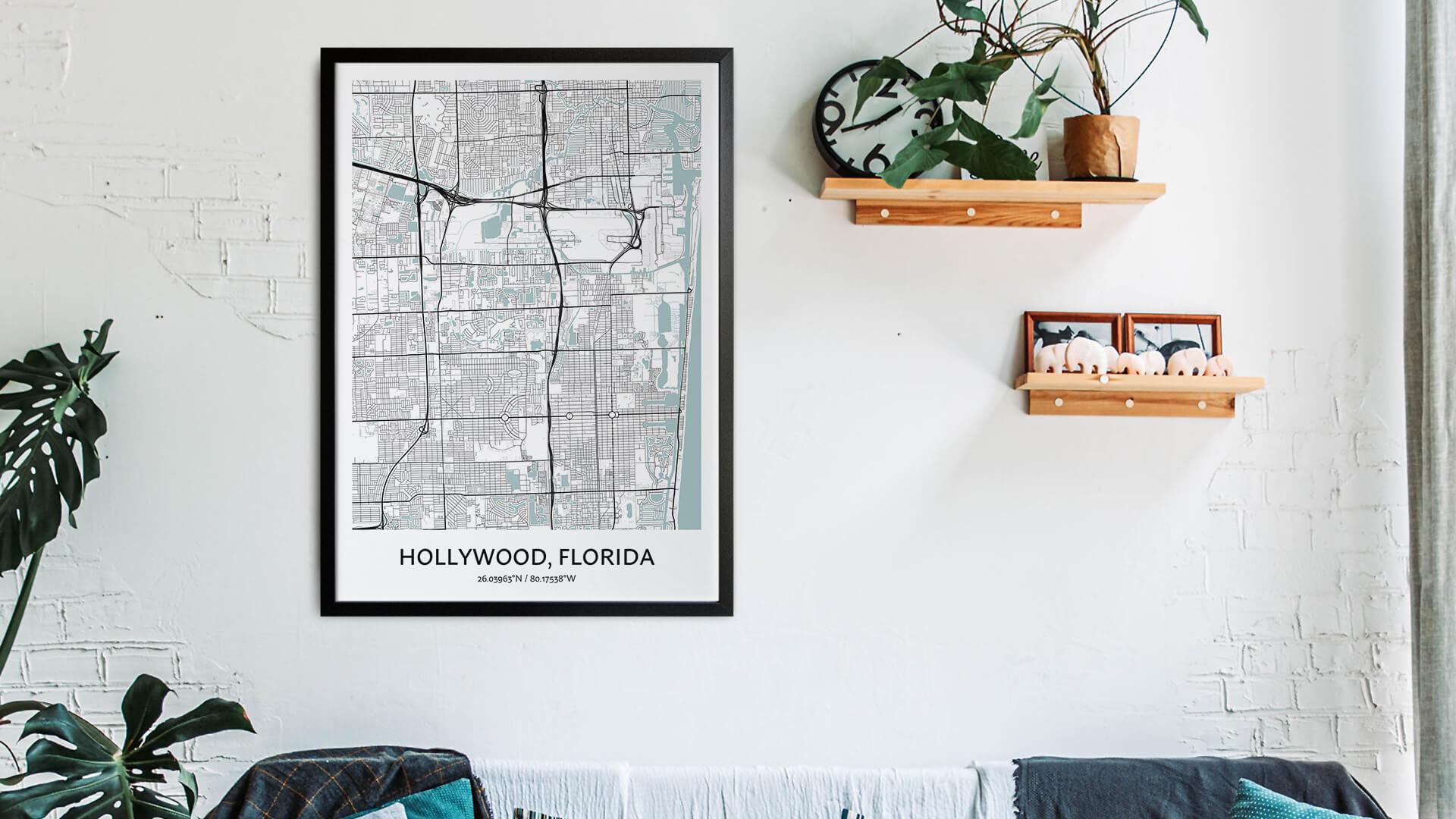 Hollywood map art