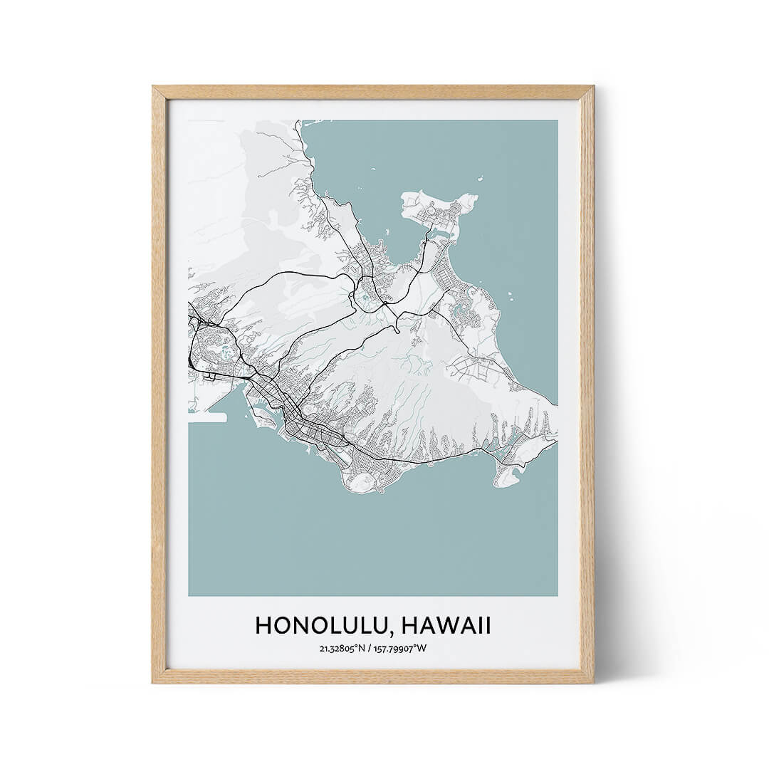Honolulu city map poster