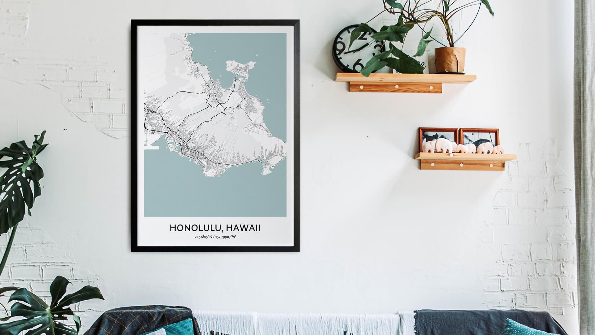 Honolulu map art