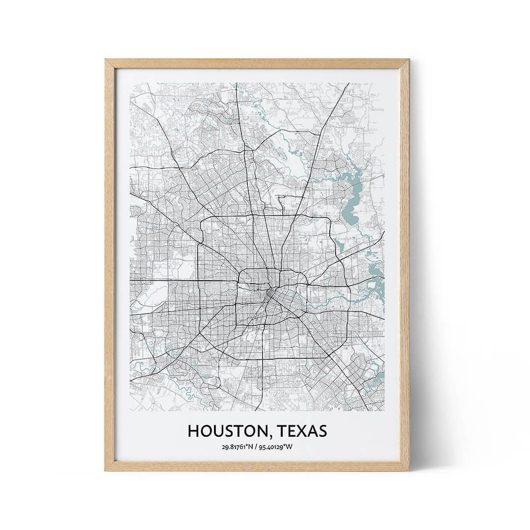Houston city map poster