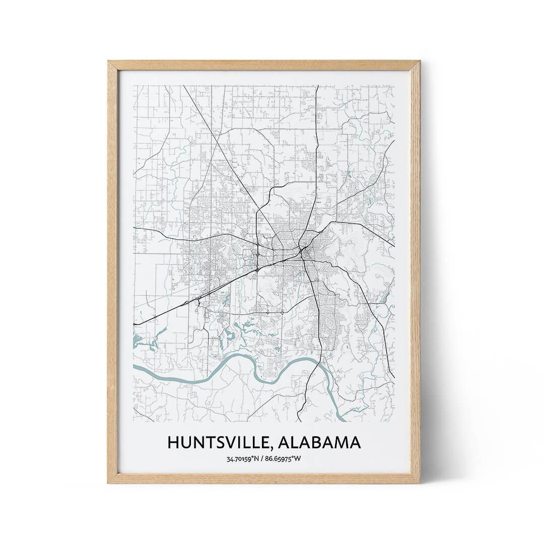 Huntsville city map poster
