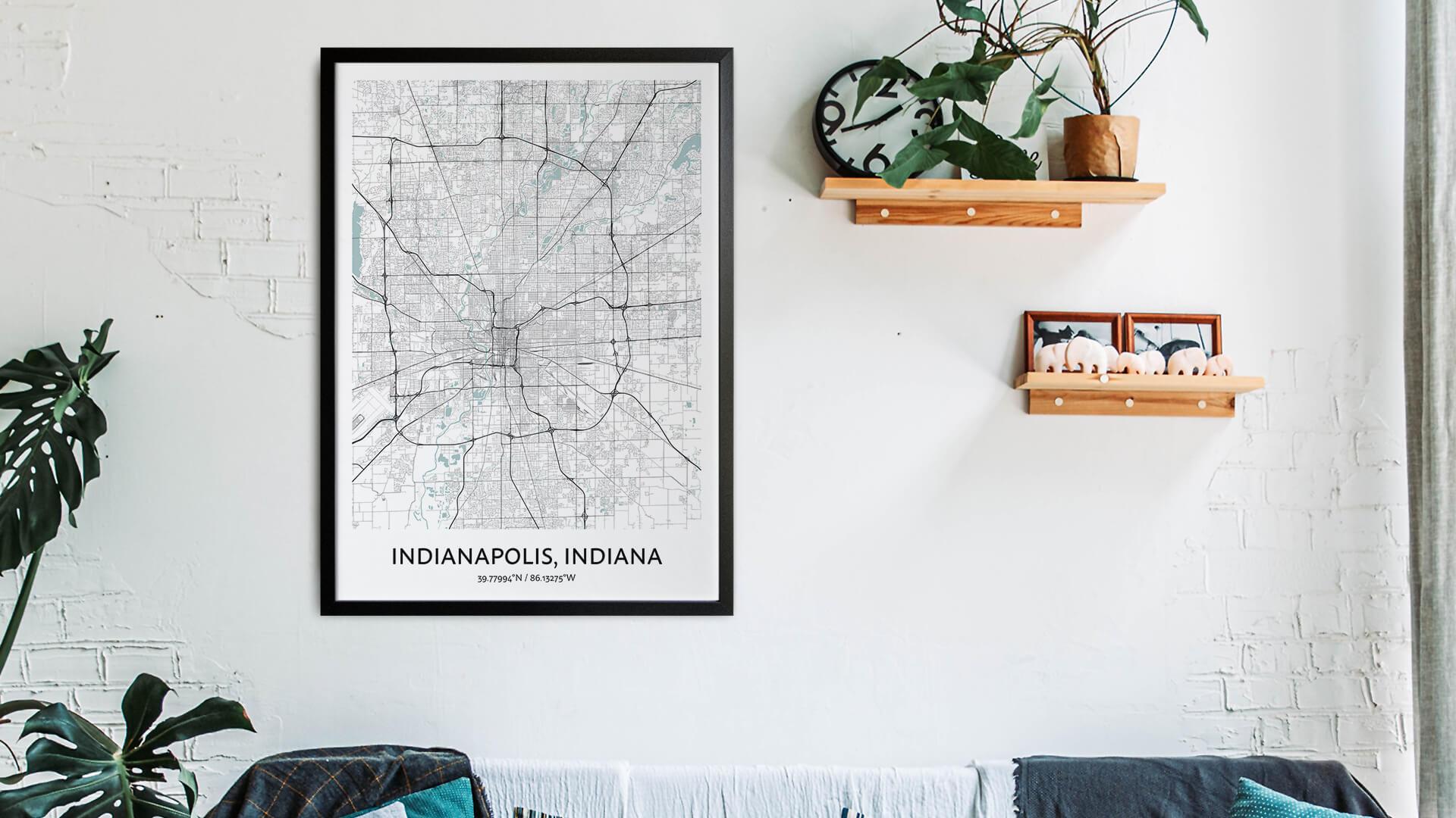 Indianapolis map art