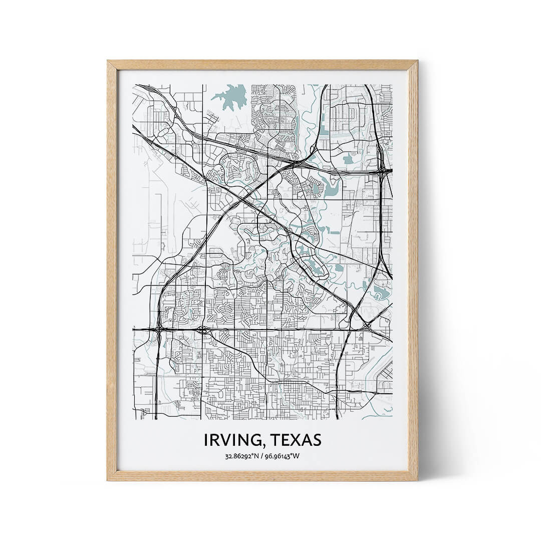 Irving city map poster