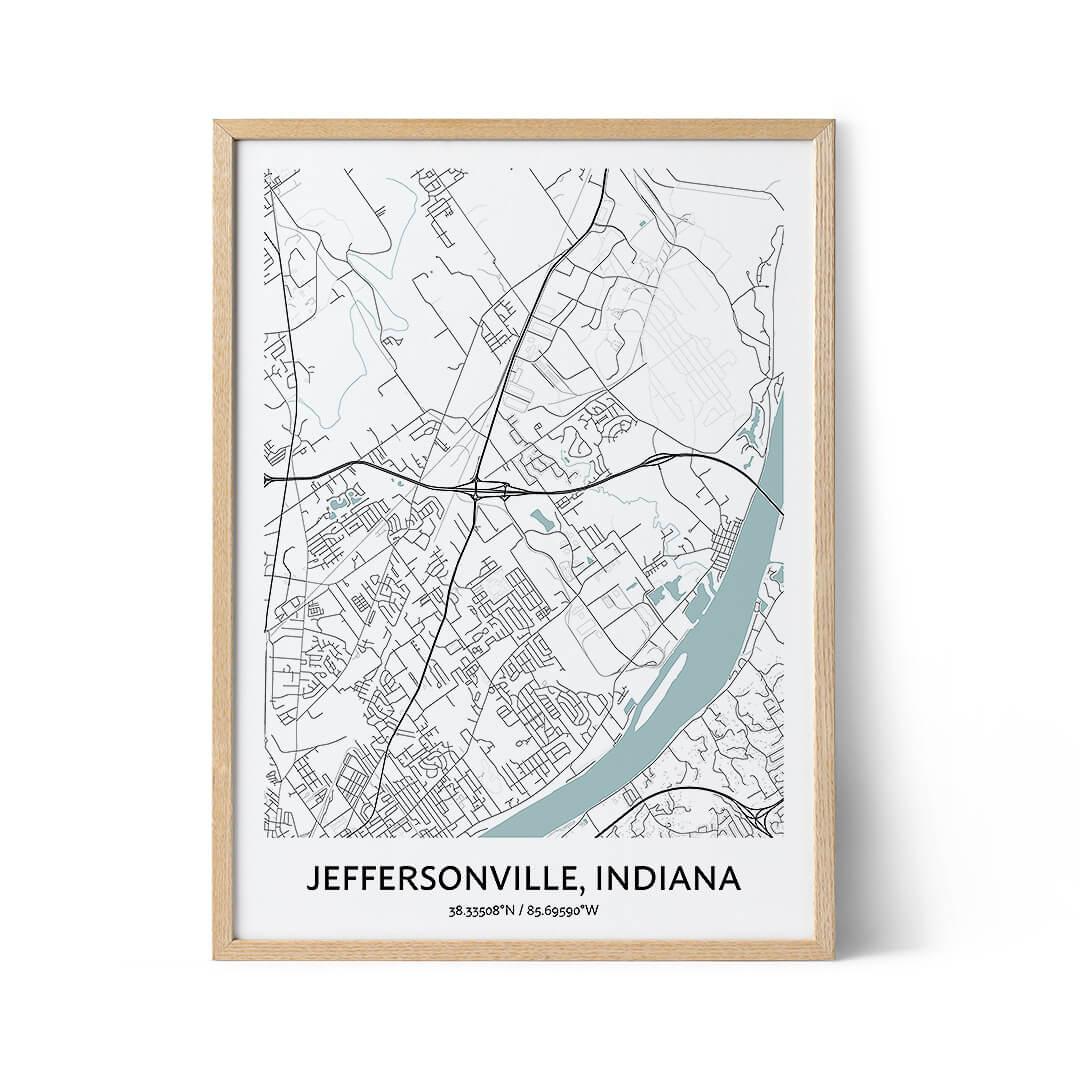 Jeffersonville city map poster
