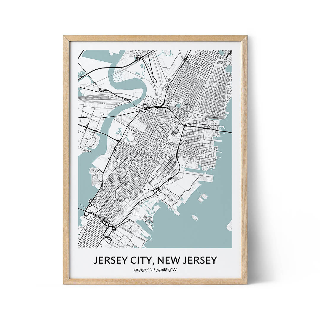 Jersey City city map poster