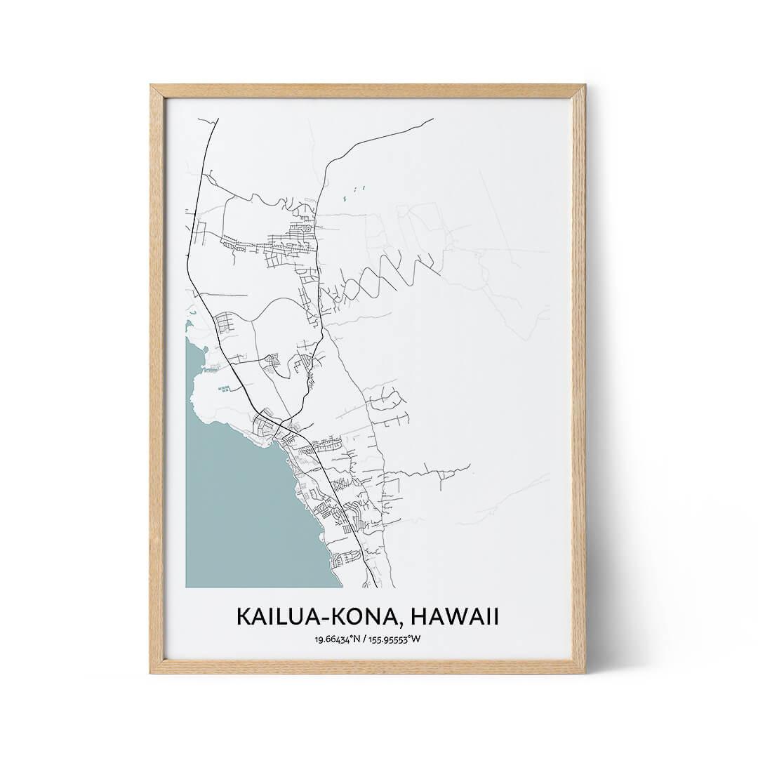Kailua-Kona city map poster