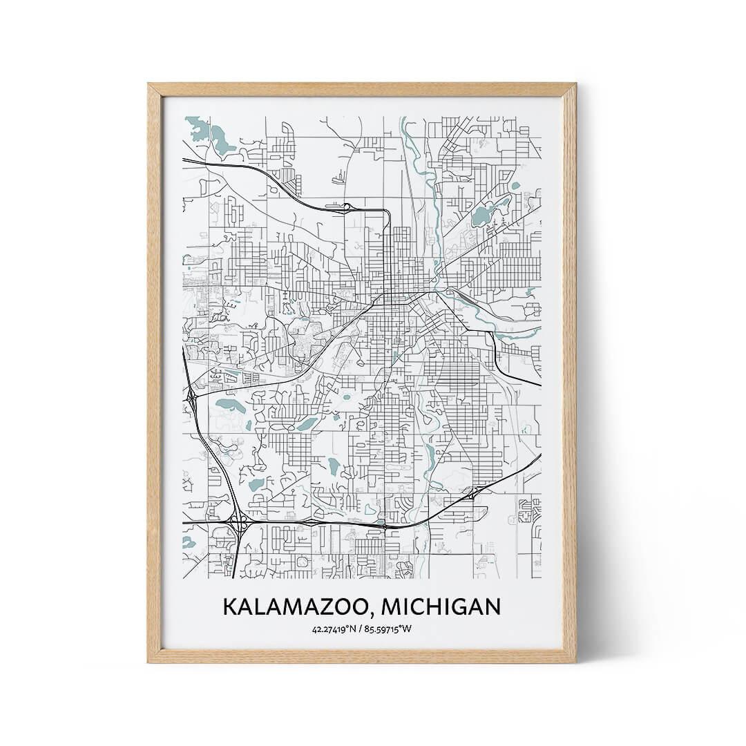 Kalamazoo city map poster