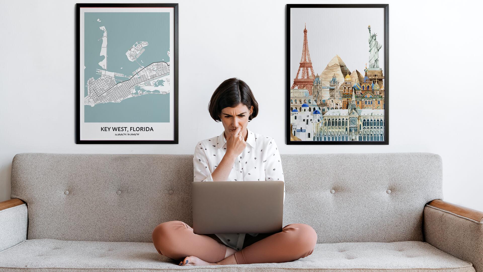 Key West city map art