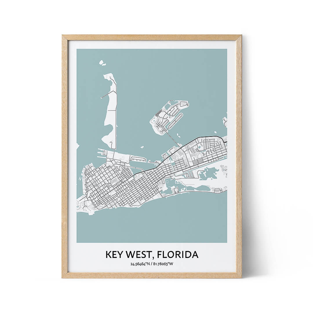 Key West city map poster