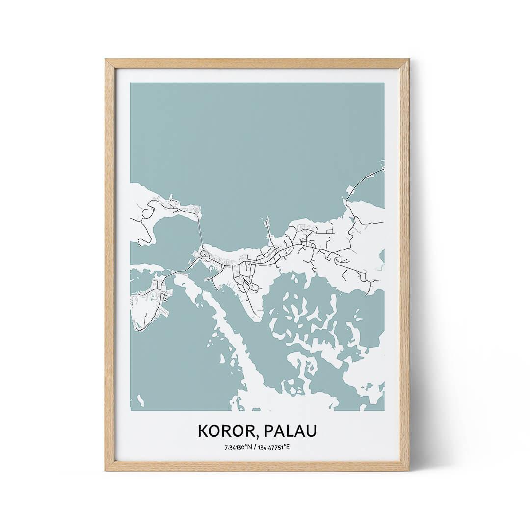 Koror city map poster