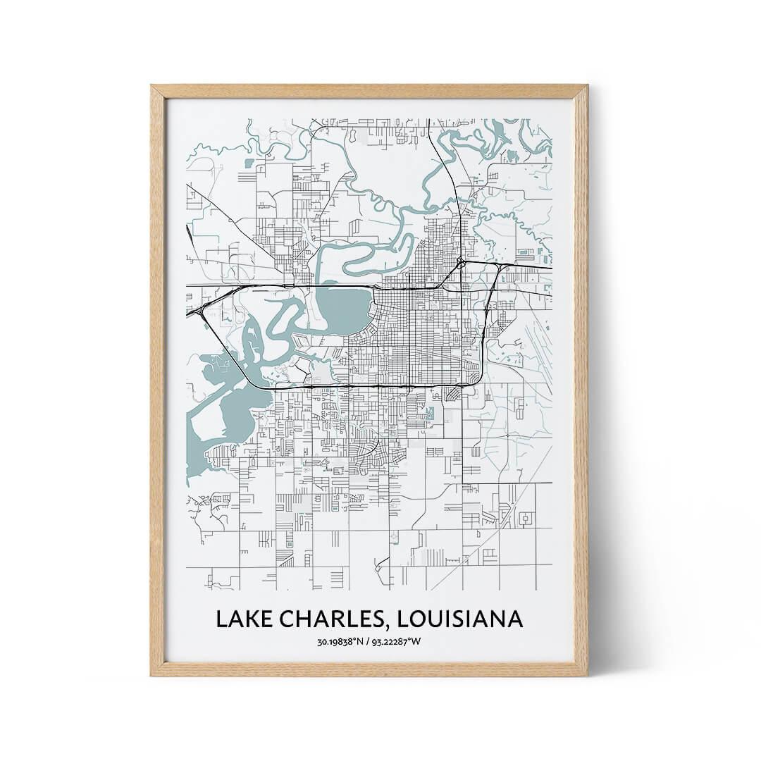 Lake Charles city map poster