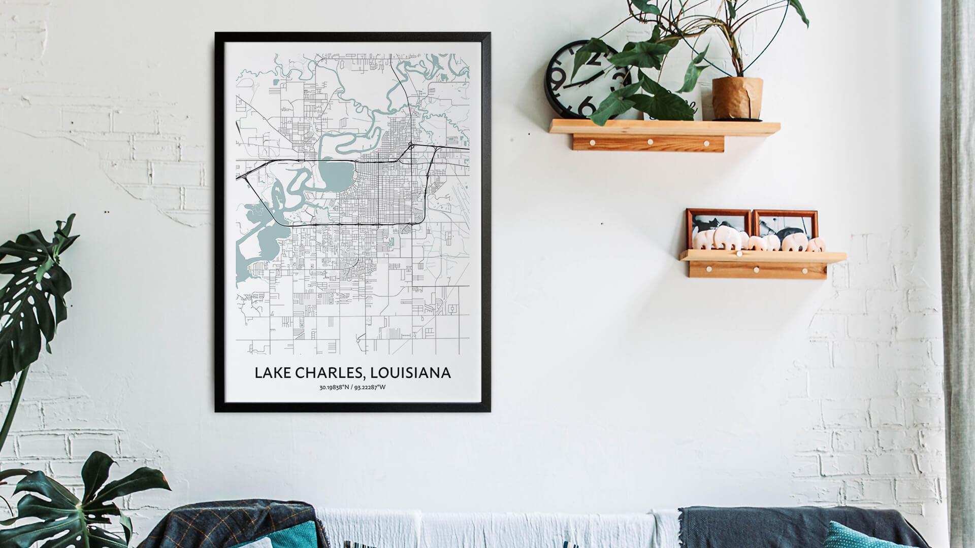 Lake Charles map art
