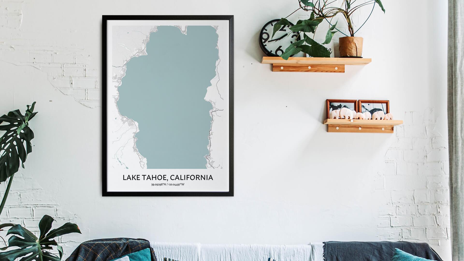 Lake Tahoe map art