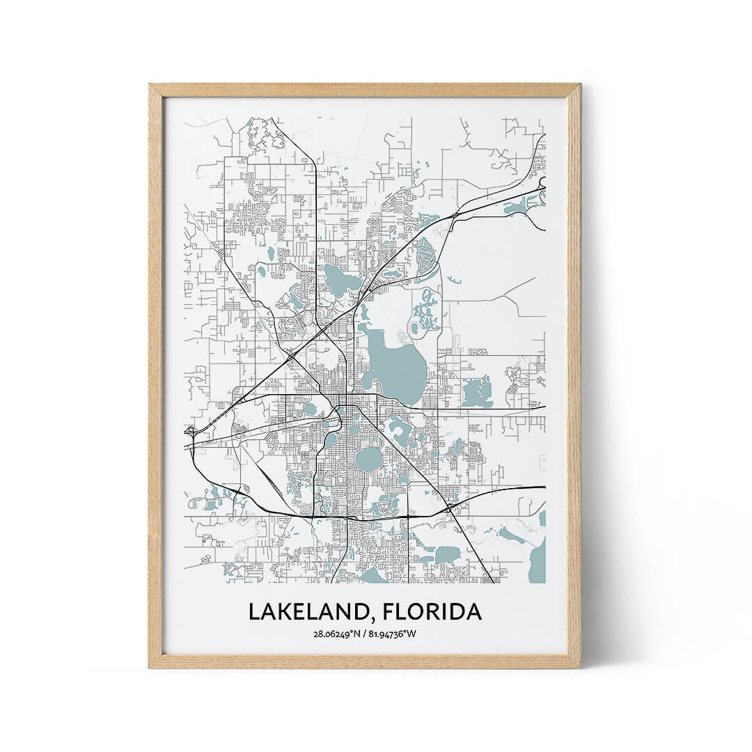 Lakeland city map poster