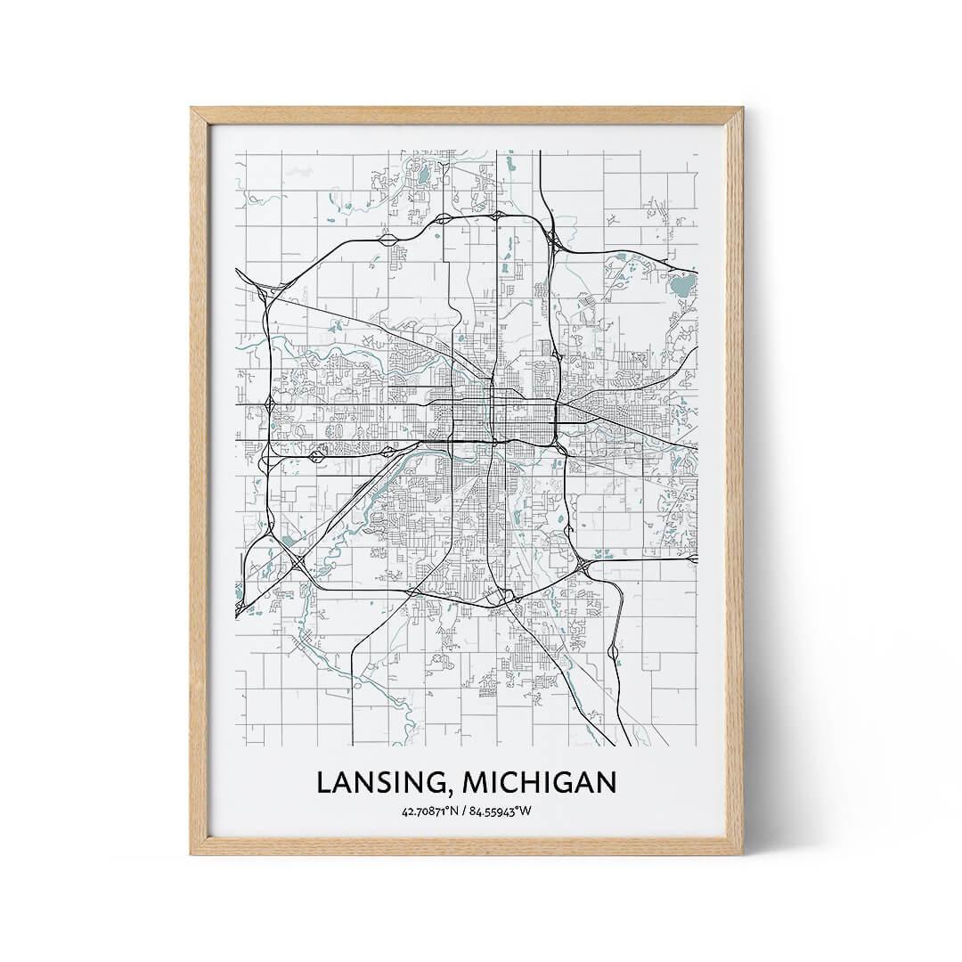 Lansing city map poster