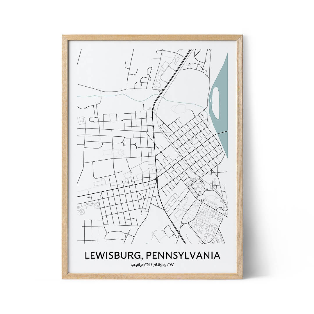 Lewisburg city map poster