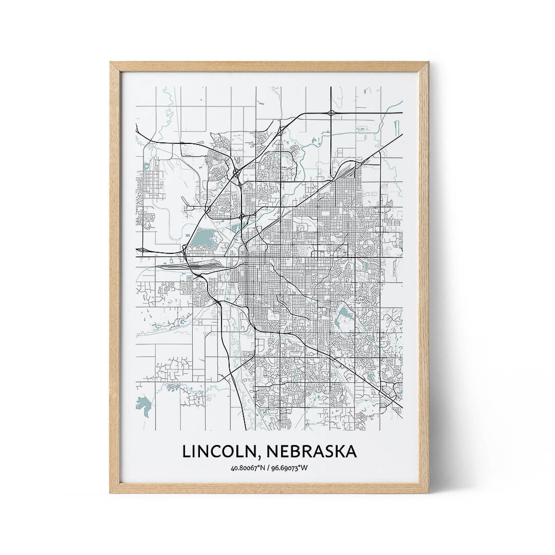 Lincoln city map poster