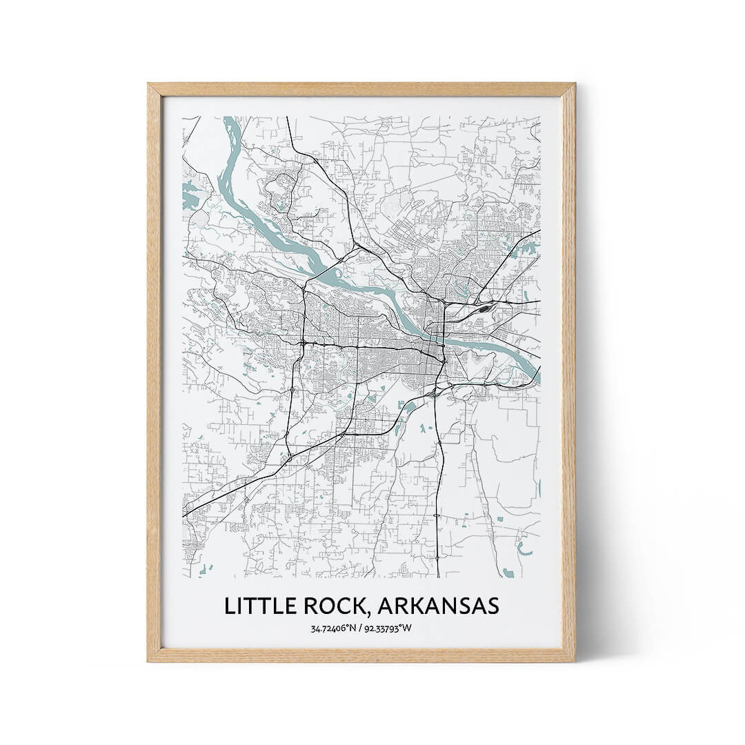 Little Rock city map poster