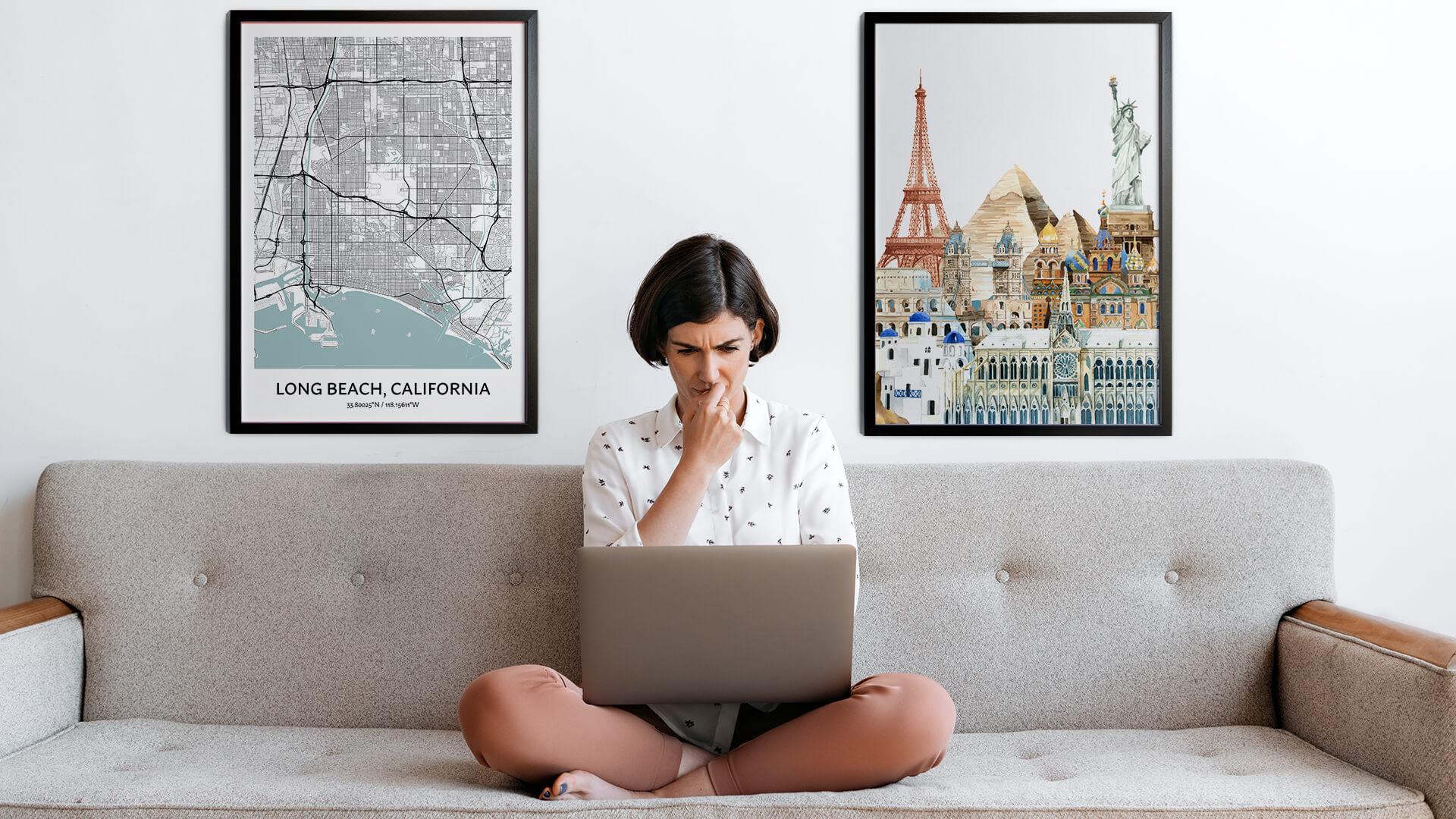Long Beach city map art
