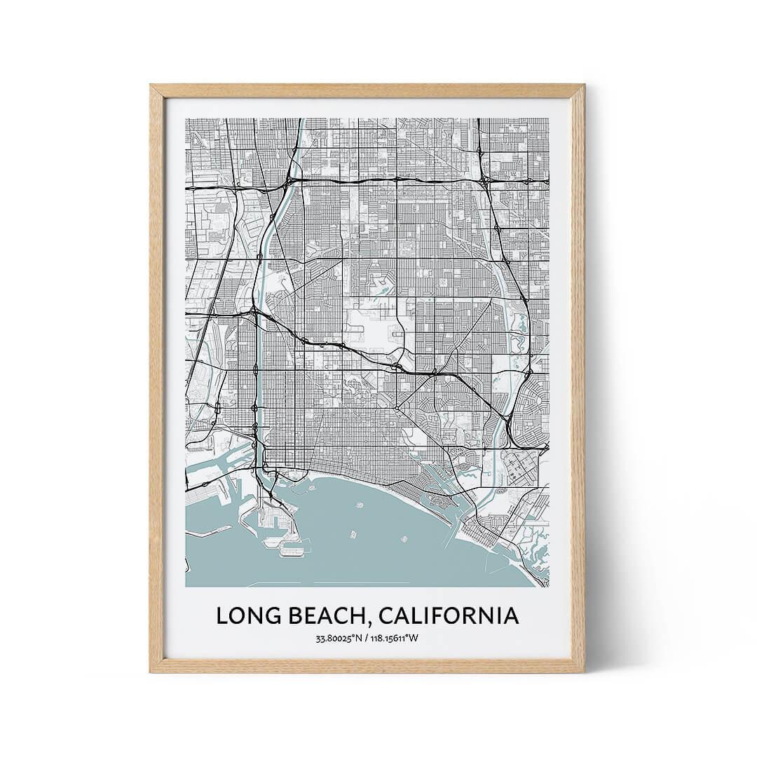 Long Beach city map poster