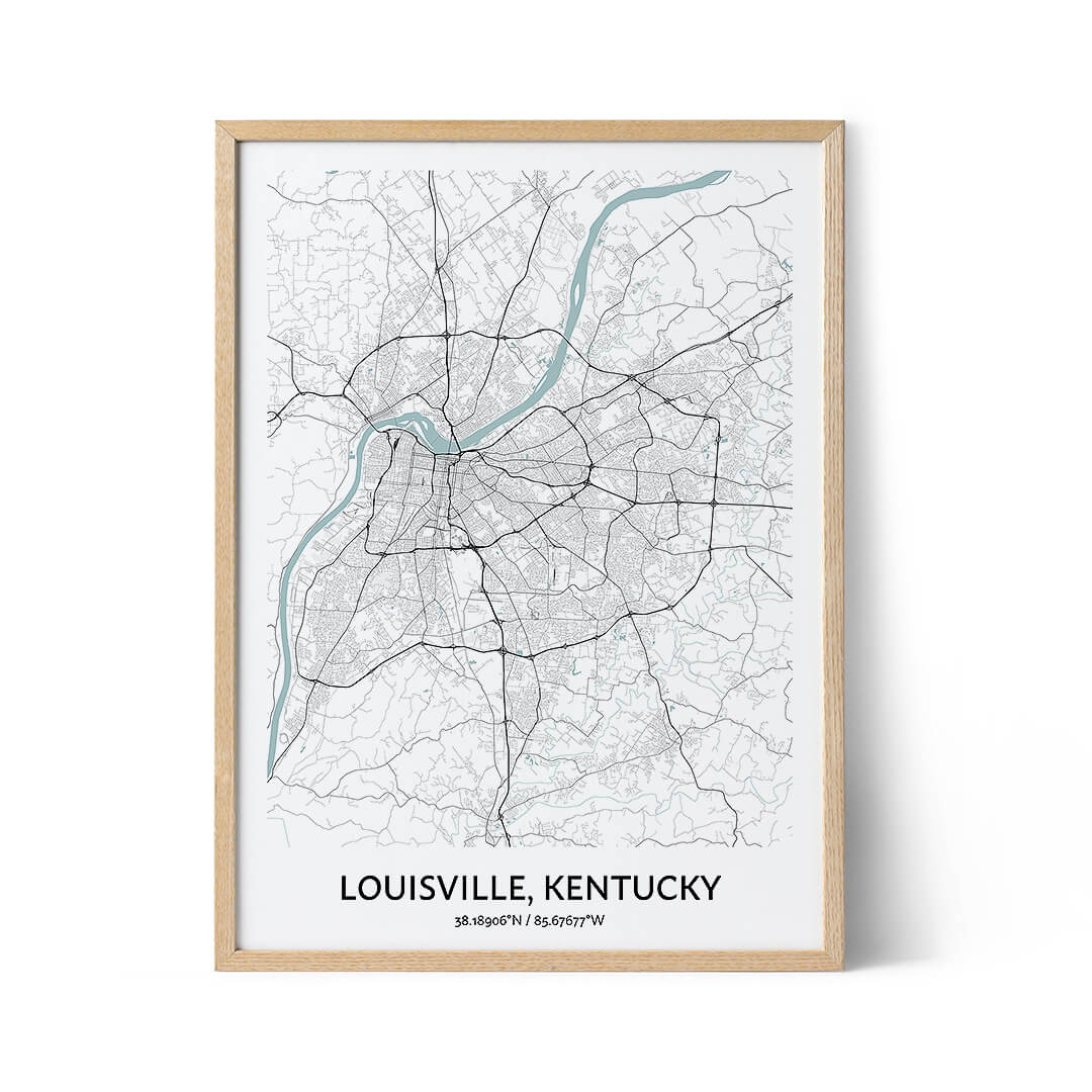 Louisville city map poster