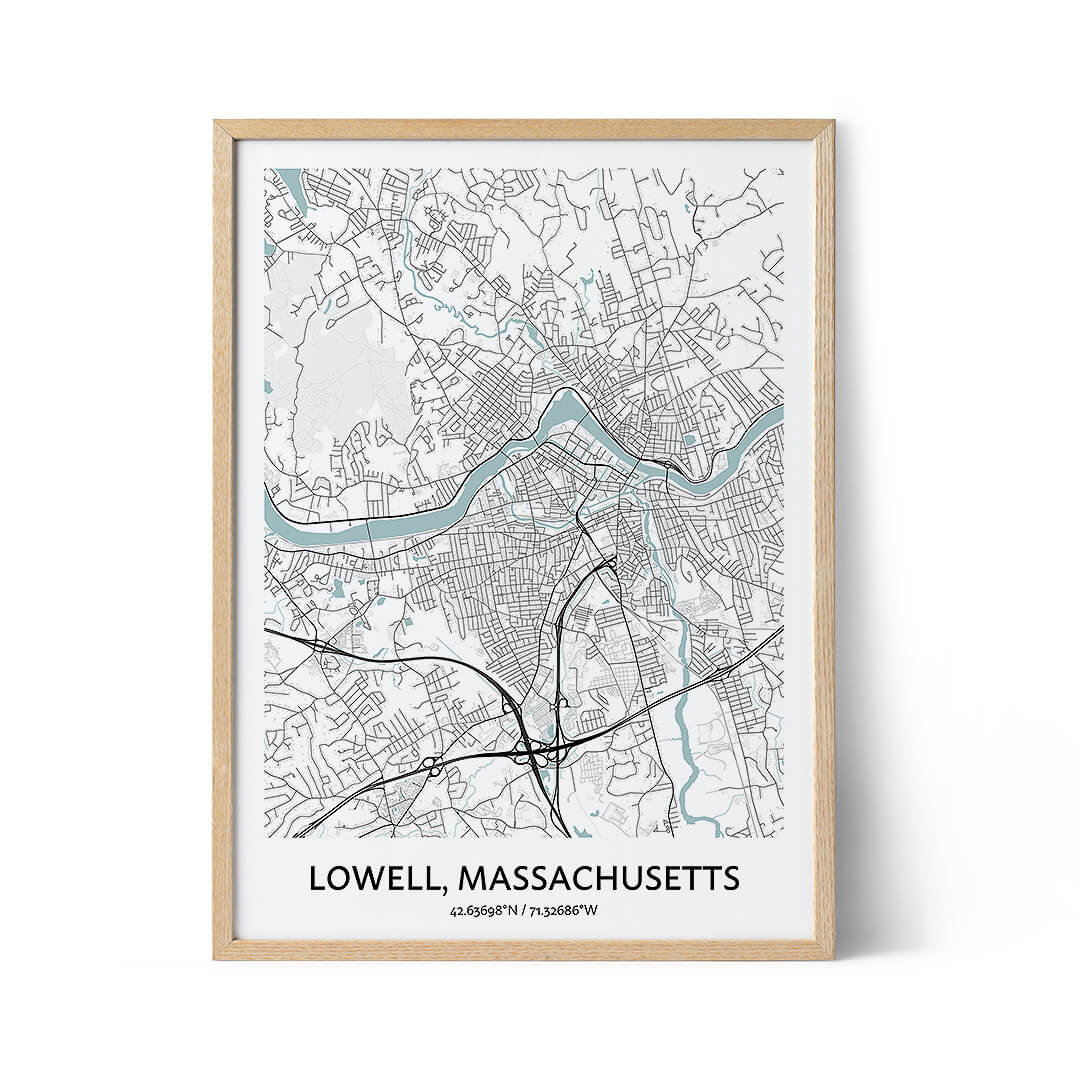 Lowell city map poster