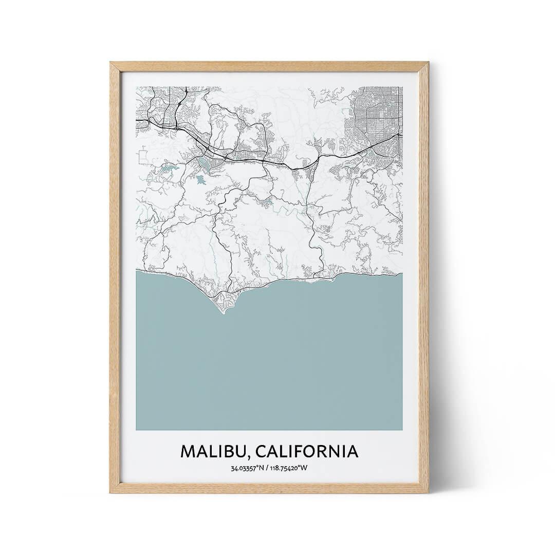Malibu city map poster