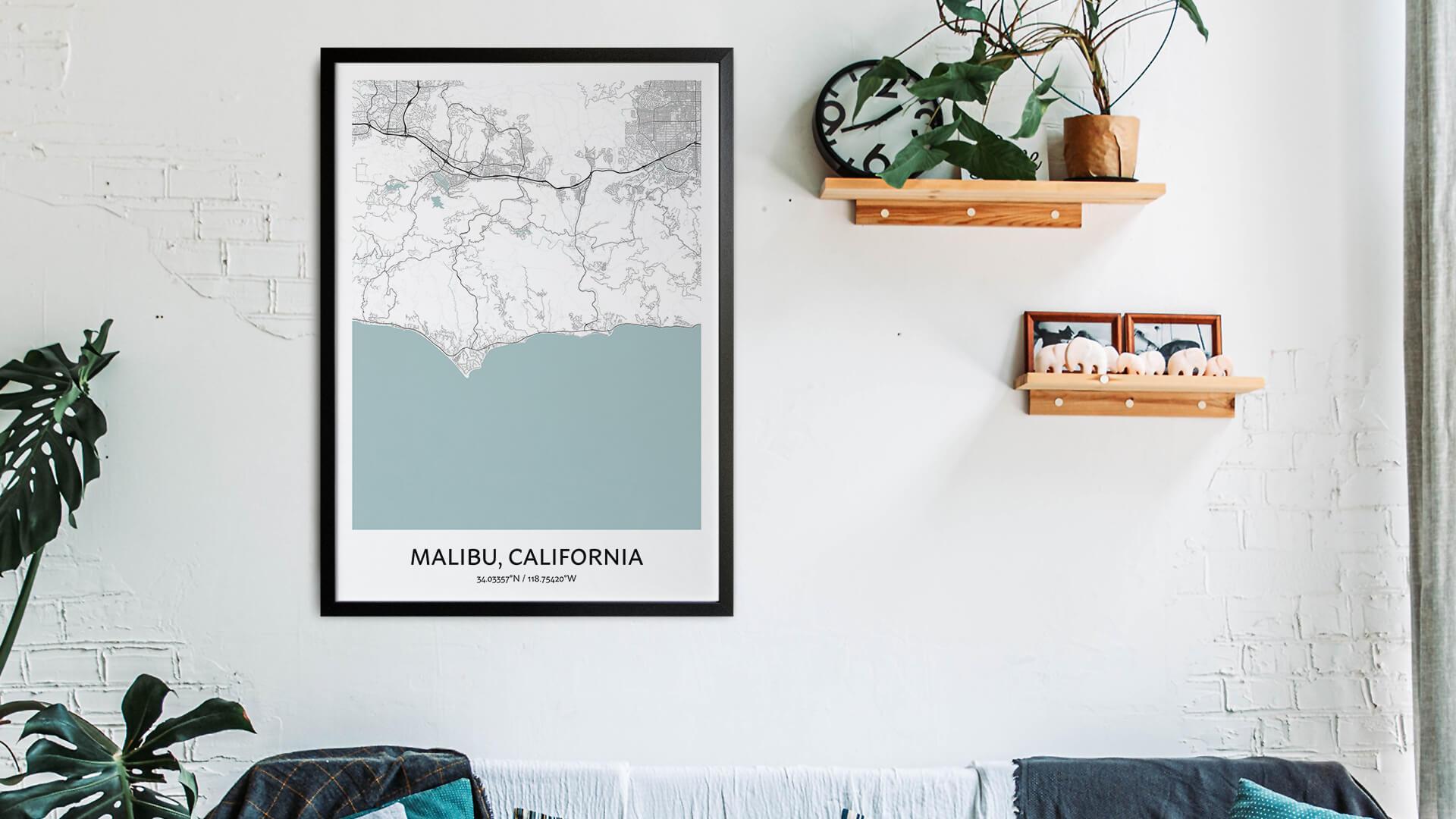 Malibu map art