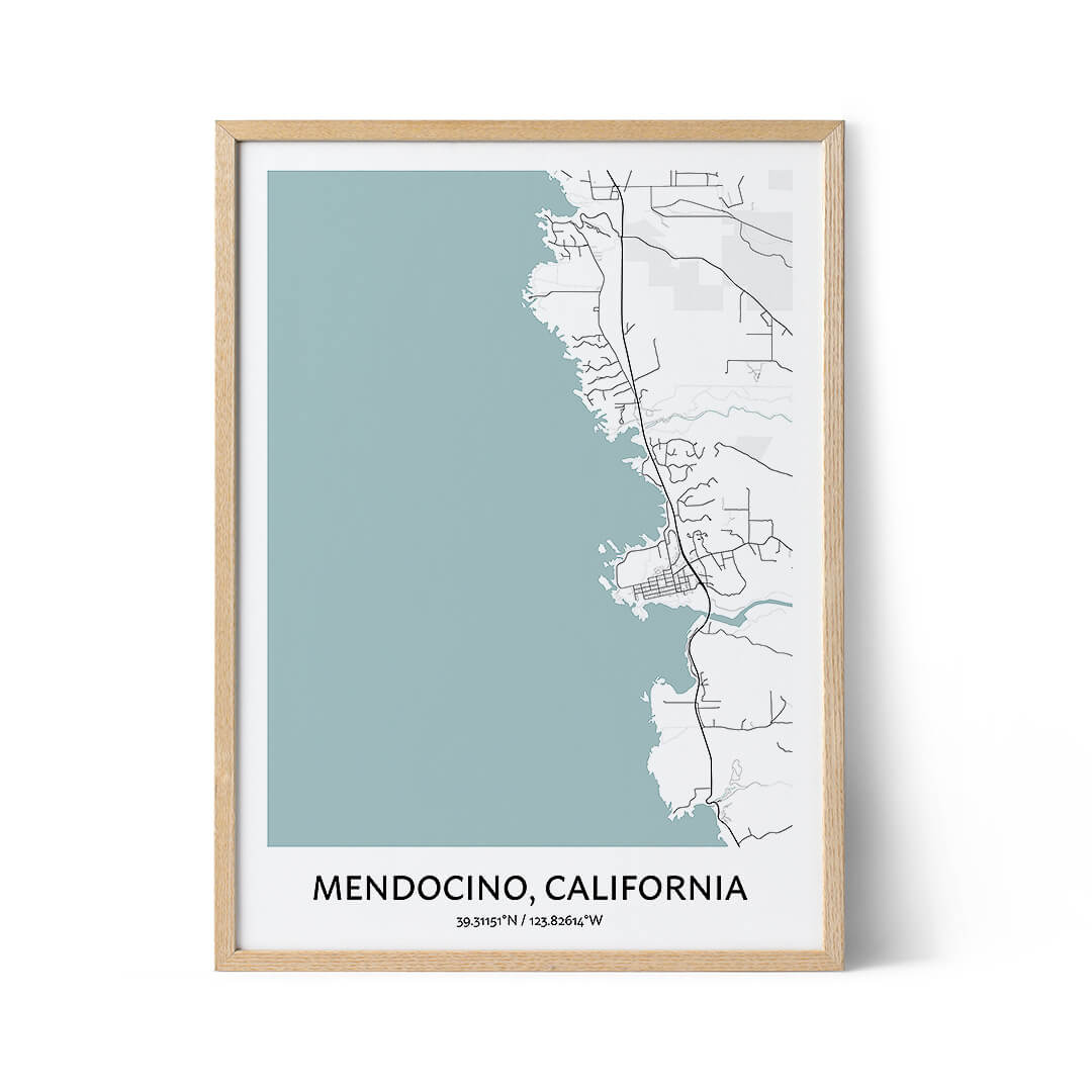 Mendocino city map poster