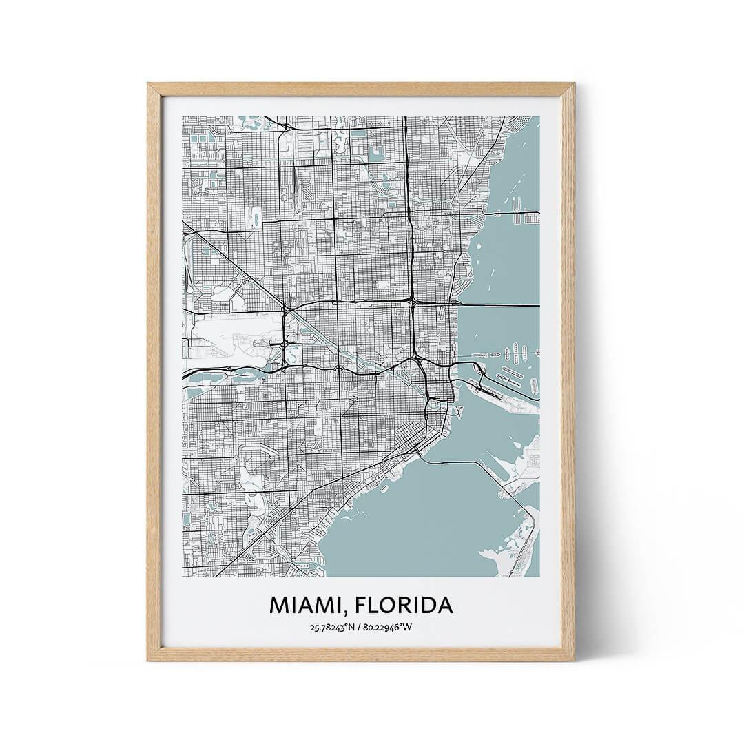Miami city map poster