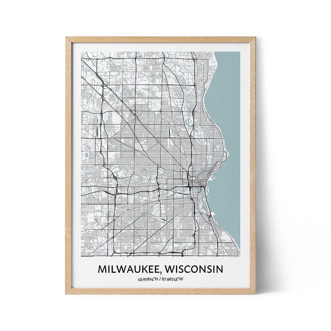 Milwaukee city map poster