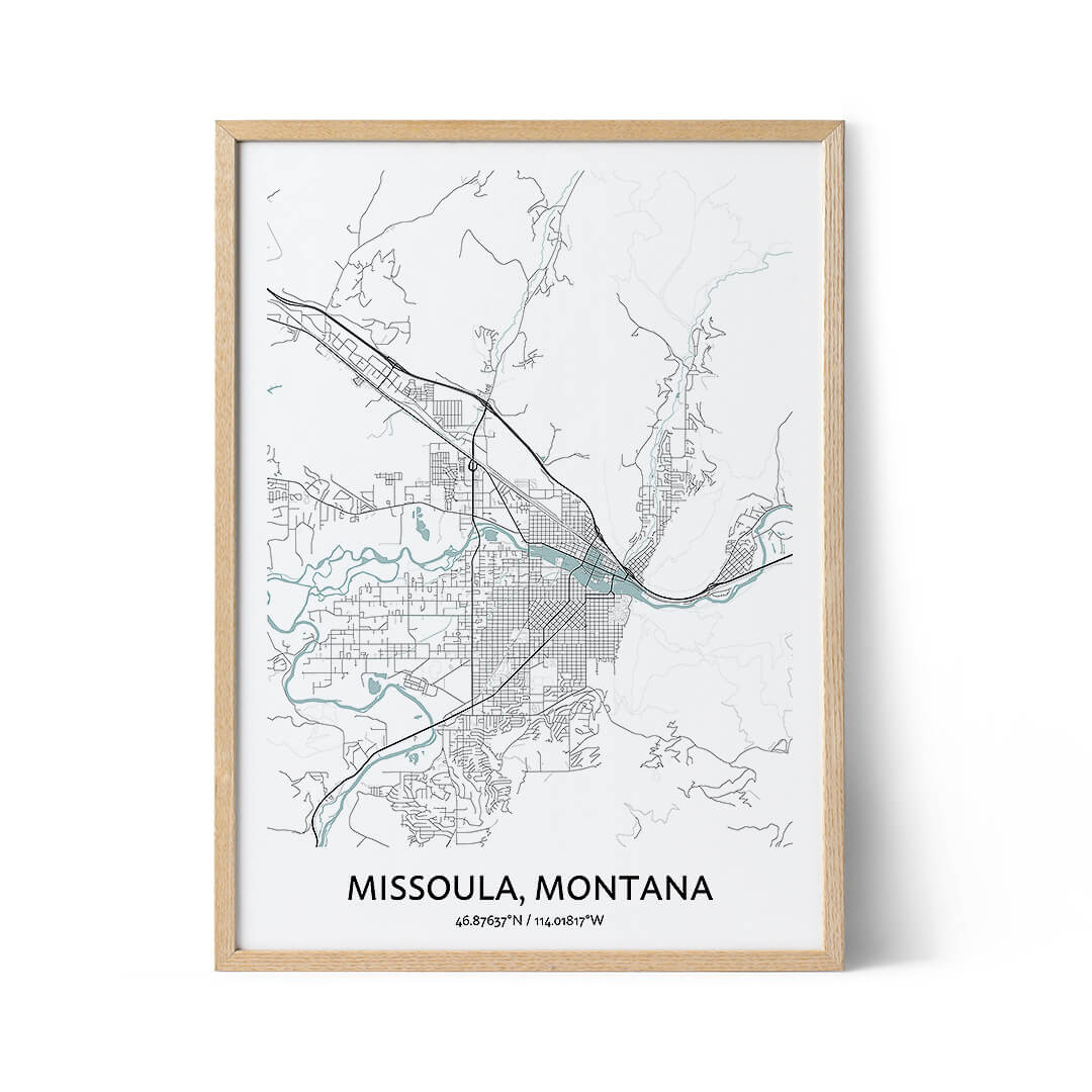 Missoula city map poster