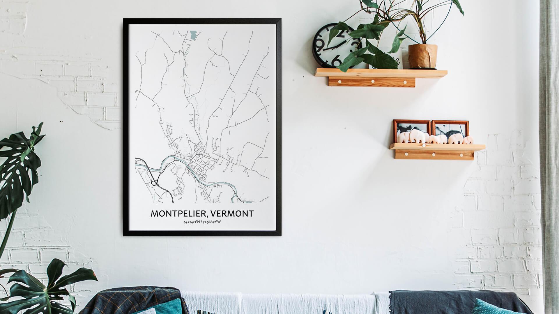 Montpelier map art