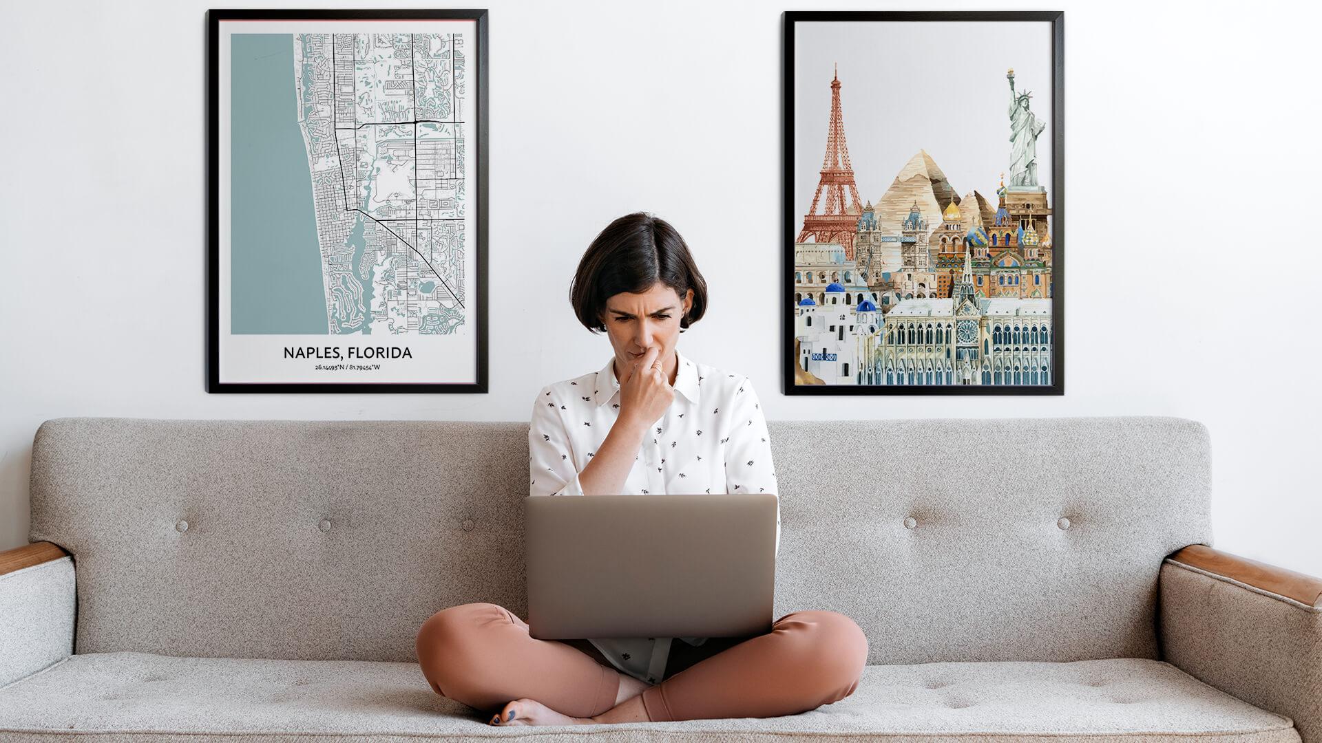 Naples city map art