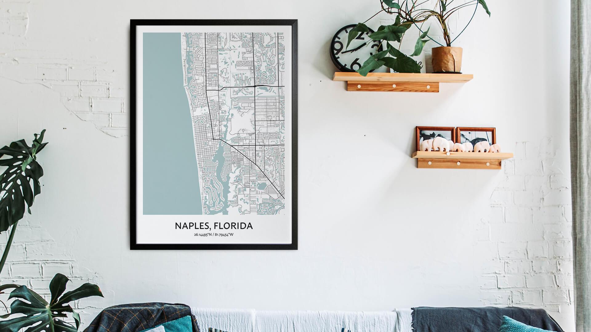 Naples map art