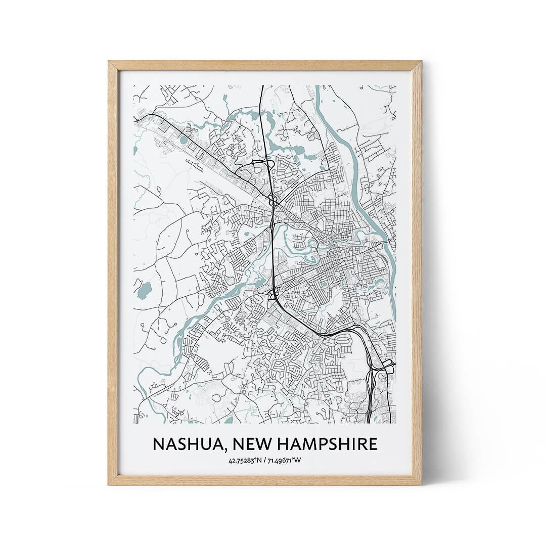 Nashua city map poster
