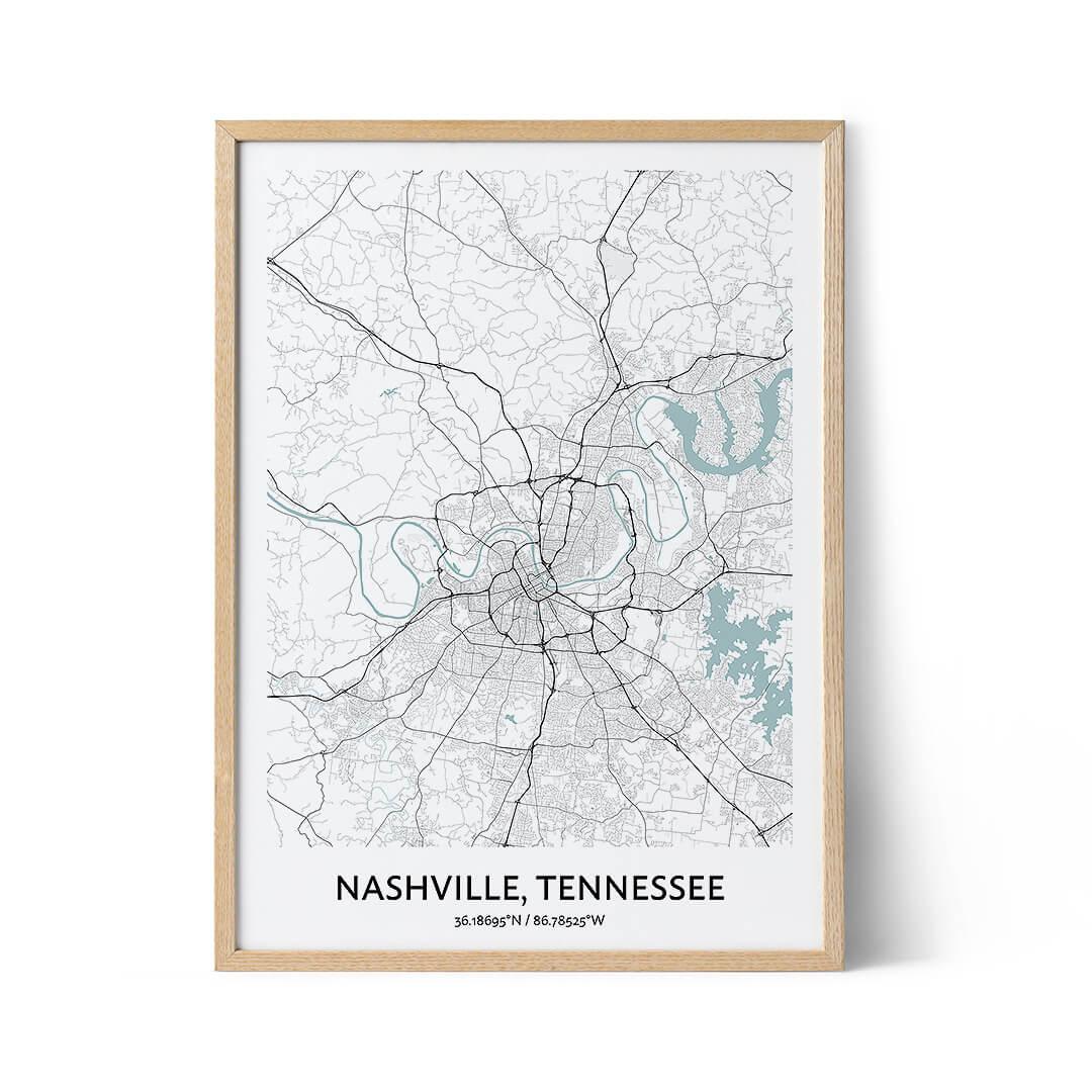 Nashville city map poster