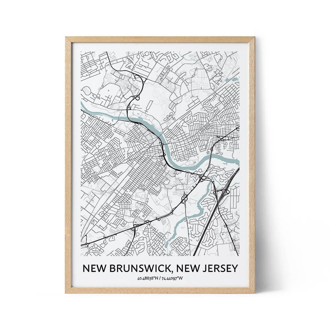 New Brunswick city map poster