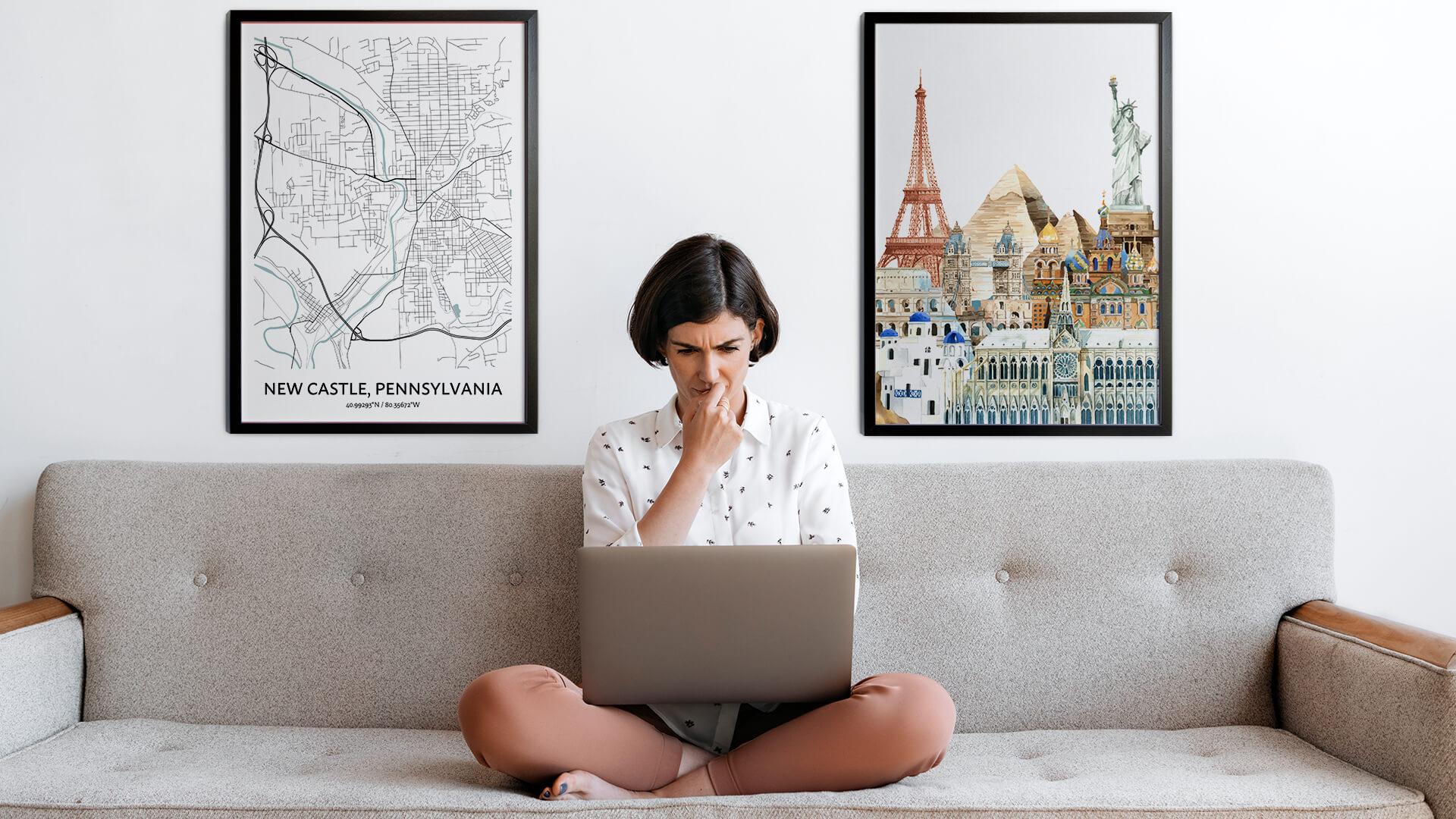 New Castle city map art