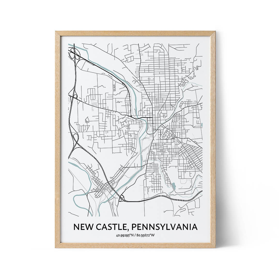 New Castle city map poster