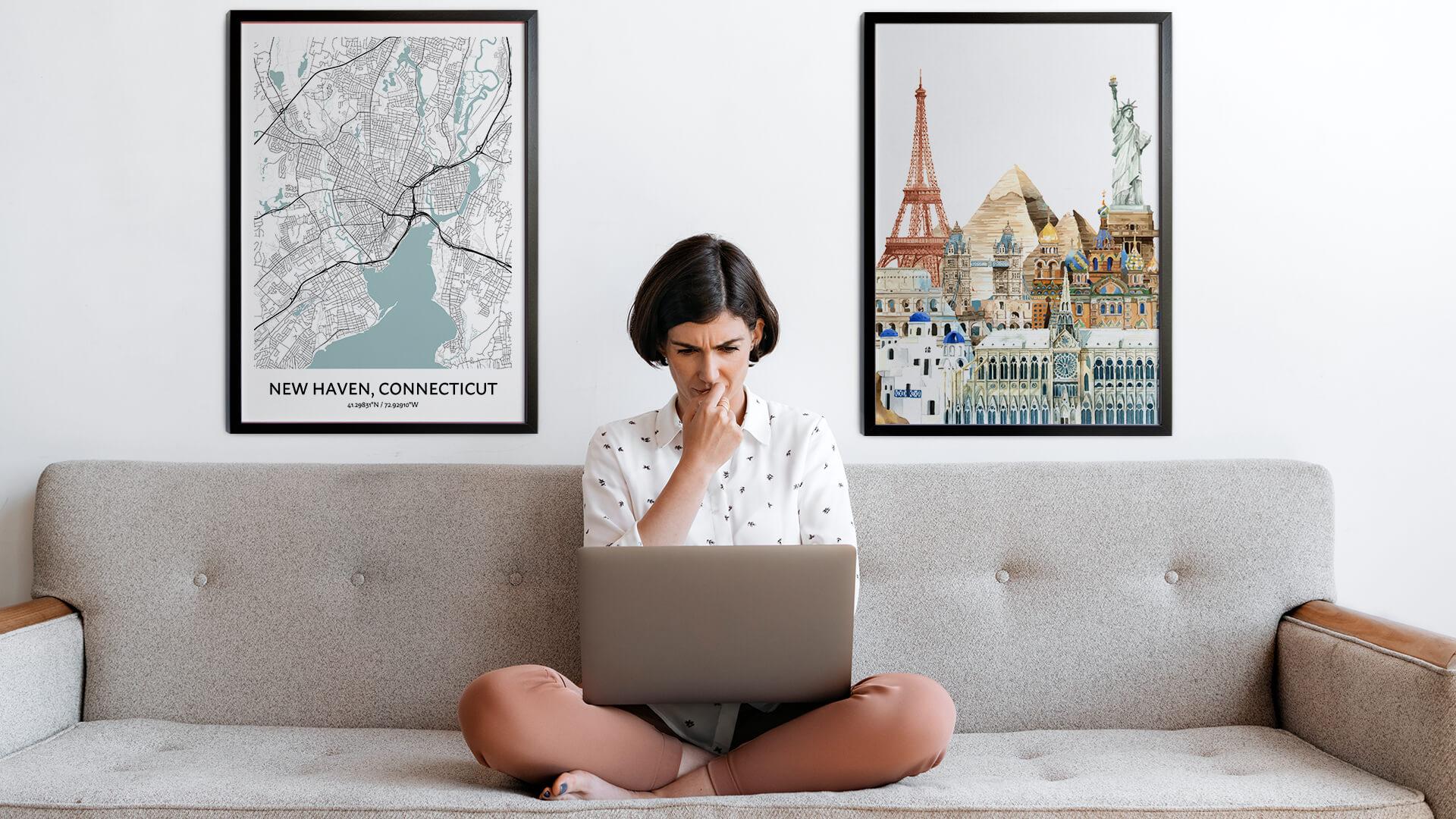New Haven city map art