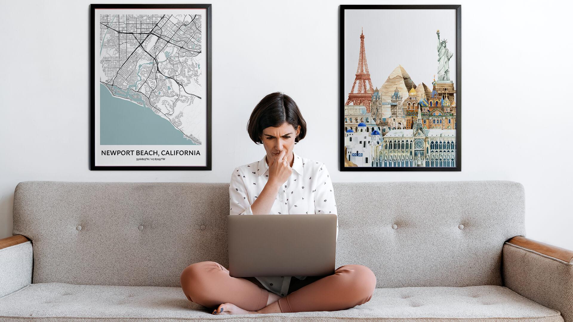 Newport Beach city map art