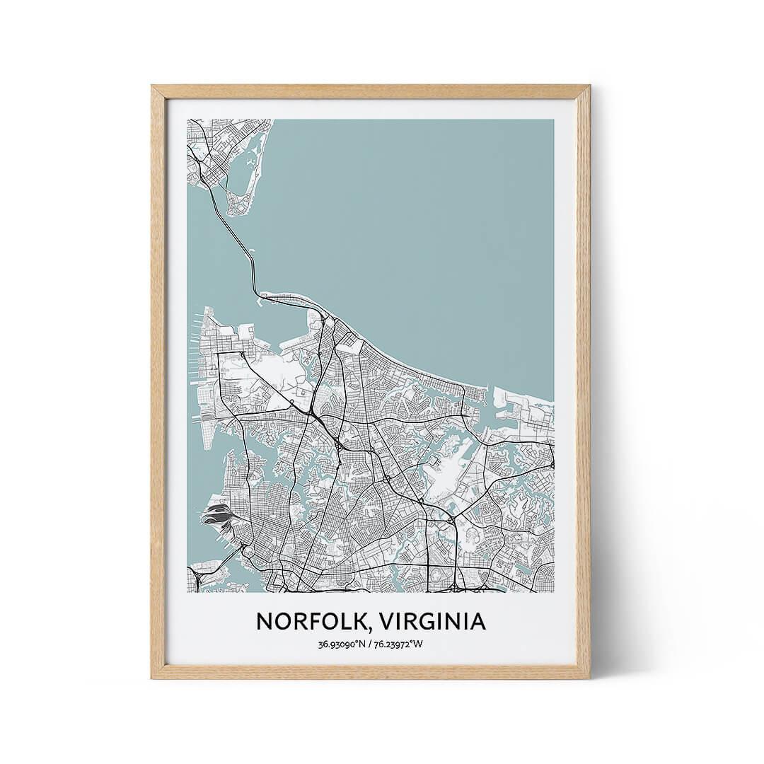 Norfolk city map poster