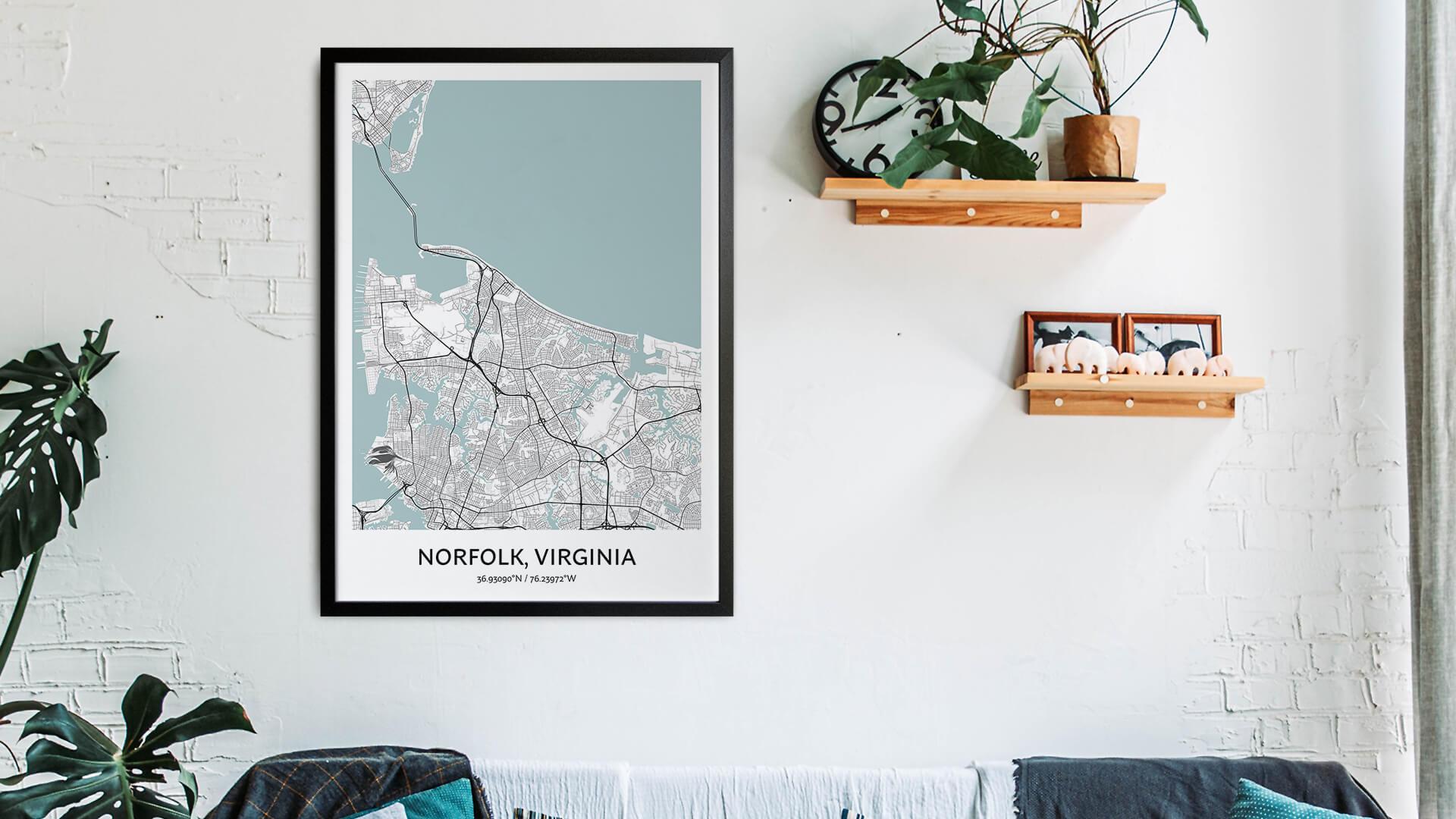 Norfolk map art
