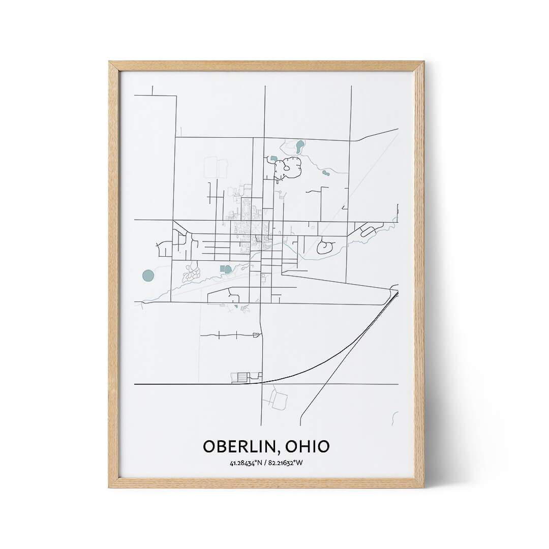 Oberlin city map poster