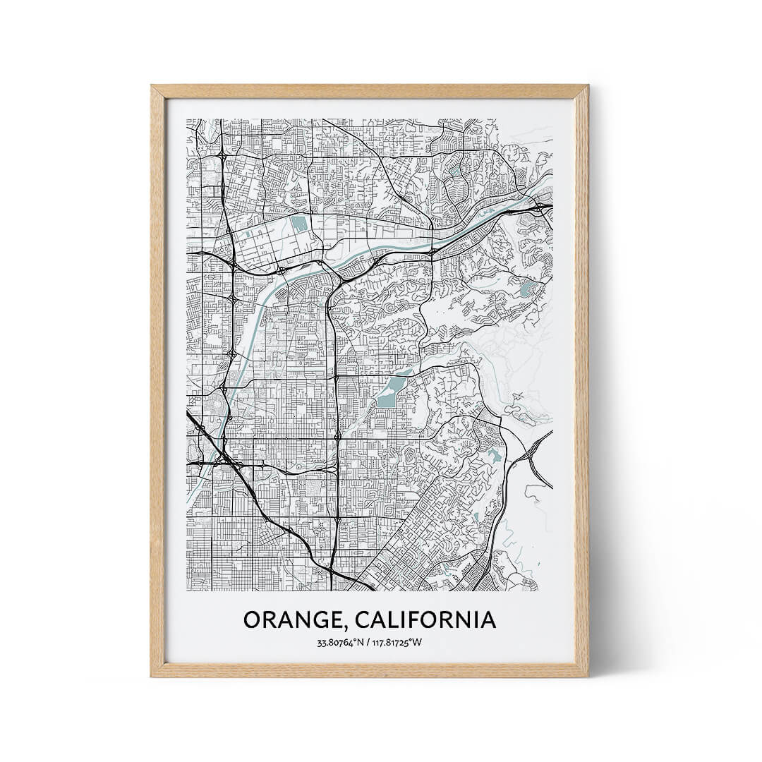 Orange city map poster
