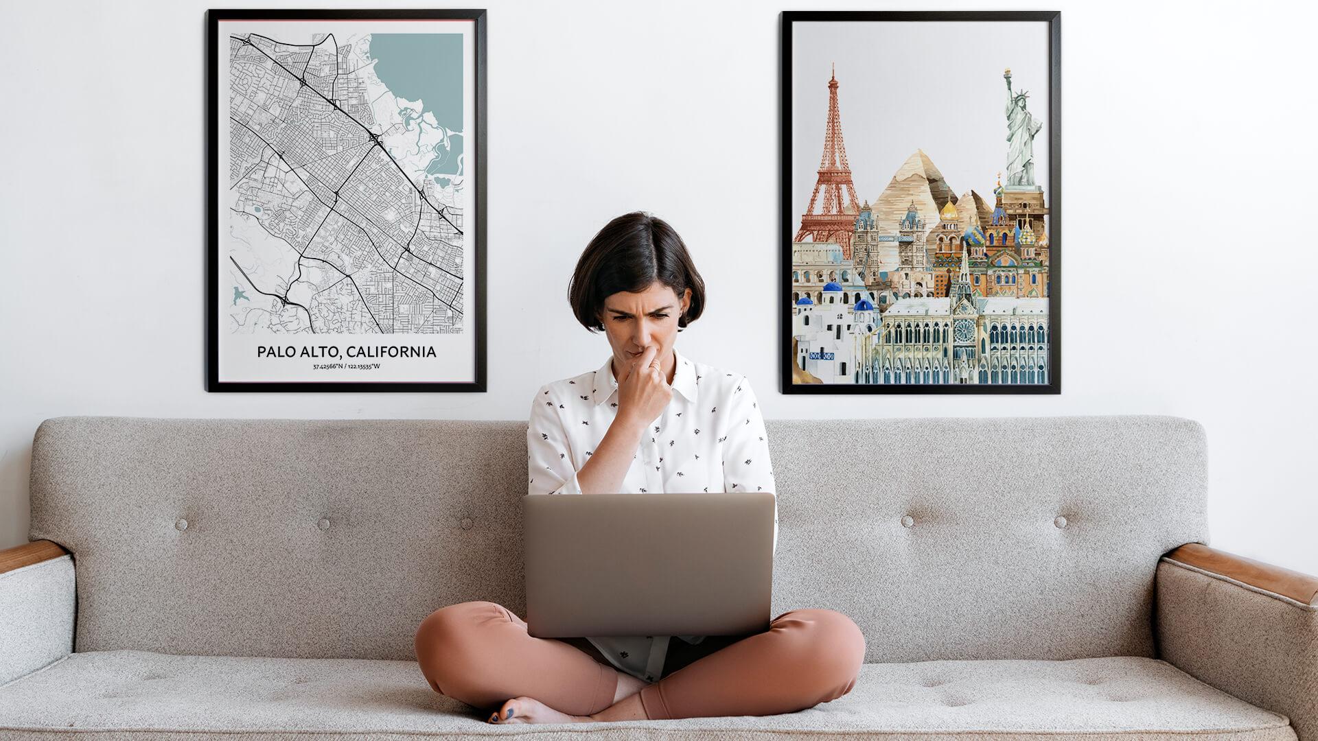Palo Alto city map art