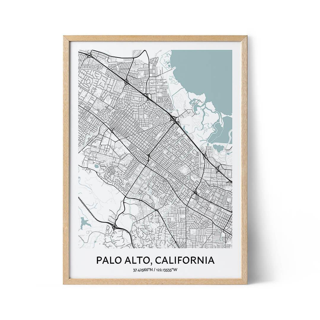 Palo Alto city map poster